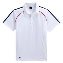 China Dry fit men's sports top, polo shirt design, made of white polyester pique/custom logo/color/sizes