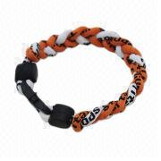 Hong Kong SAR Negative-ion Bracelet with Triple Cords, Made of Silicone and Nylon, Great for Outdoor or Promotion