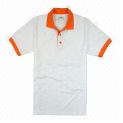 China Plain Polo Shirt with Printing, 100% Cotton Pique Fabric, Customized Logos and Designs are Accepted