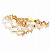 Costume Exaggerated Silver Glitter Geometry Golden Alloy Rhinestone Bangles from China (mainland)