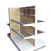 Double-sided gondola wooden panel glass shelf Manufacturer