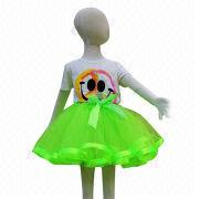 Hot Sale Girl's Green Satin Ribbon Trim Tutu Skirts from China (mainland)