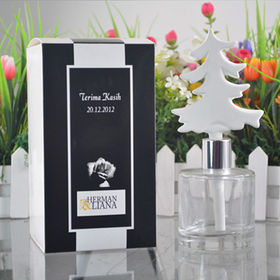 White ceramic tree-shaped diffuser in glass with nice gift box for air fresheners