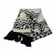 100% Acrylic animal chunky scarf, hat and mitten set from China (mainland)