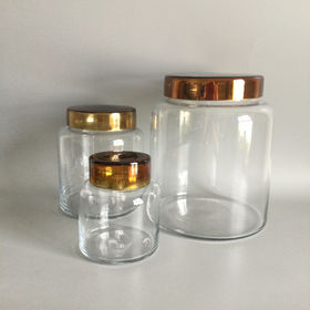 S/3 Mercury Lids Clear Glass Apothecary canisters Manufacturer