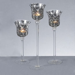 S/3 Black Decal Clear Glass Tea-light Candle Holders from China (mainland)