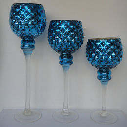 China S/3 Die-Molded Goblet Blue Glass Candle Holders, Available in Various Colors