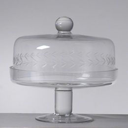 China Deep Cutting Clear Glass Cake Plates