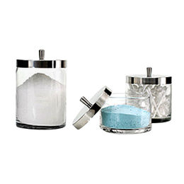 S/3 Metal Lid Clear USA Glass Bath Stuff Canister, Measures 10 x 11/13cm