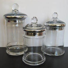 S3 Textured Mercury Lid Clear Glass Candy Jars from China (mainland)