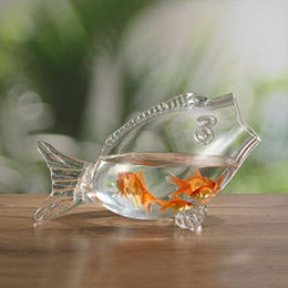 "14.5"" L Machine-made Clear Glass Fish-shaped Fish Tanks from China (mainland)"