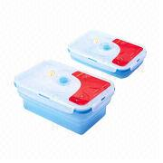 Rectangular-shaped Silicone Food Container with Lockable Lids, Volume of 1,000ml