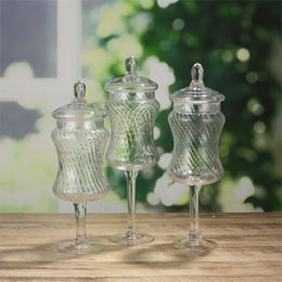 Clear Apothecary Stemmed Glass Candy Jars from China (mainland)