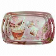 Melamine serving tray set, measures L, M and S