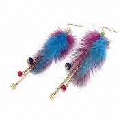 Feather Tassel Hook Earrings from China (mainland)