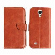 Nice texture wallet card slot PU leather mobile phone case for Samsung Galaxy S4 from China (mainland)