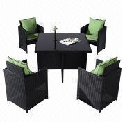 Outdoor flat rattan furniture dining set from China (mainland)