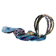 2014 Hot-sale teenagers' metal chain braided long printing chiffon bow headband from China (mainland)