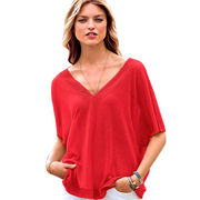 Women's V-neck pullover in knitting, various colors are available