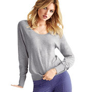 Knitted women's pullover with MOQ of 1,000pcs