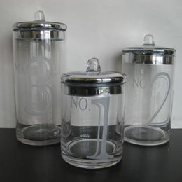 S3 Clear Textured Glass Apothecary Straight Type Jars from China (mainland)