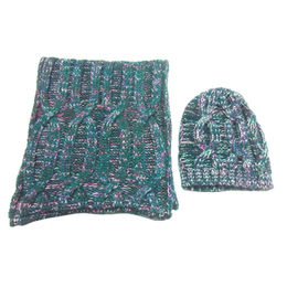 Fashionable Knitted Acrylic Melange Scarf and Hat from China (mainland)