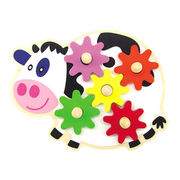 2014 new kid's wooden popular cute gear game toy for children, hot sale