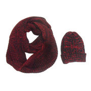 Fashionable Knitted Acrylic Melange Scarf and Beanie from China (mainland)