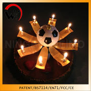 China Wholesale Football Fans Birthday Gold Cake Candle Party Magic Music
