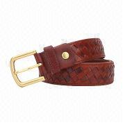 Casual Cow Leather Braided Belt from China (mainland)