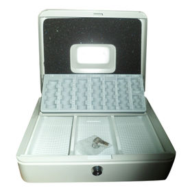 Euro Coins Cash Box, Removable Cash Tray with Compartment for Rolled and Business Cheques
