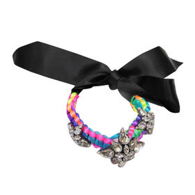 Rainbow Braided Bracelet with Shiny Diamante Charms and DIY Ribbon Tie