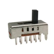 2P4T Slide Switch with AC 125V/1A Rating, Vertical Knob and 10,000-cycle Lifespan Test