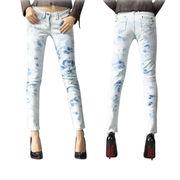 Ladies 98% cotton 2% elastane slim leg denim jeans from China (mainland)