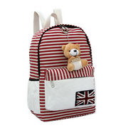 Women's Backpack, Made of Canvas, Stripe Designs with Cartoon Bear for Decoration from Fuzhou Oceanal Star Bags Co. Ltd