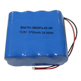 Lithium Iron Phosphate Rechargeable Battery Pack, 18650Fe, 4S1P, 12.8V, 2,700mAh, 34.56Wh from Shenzhen BAK Technology Co. Ltd