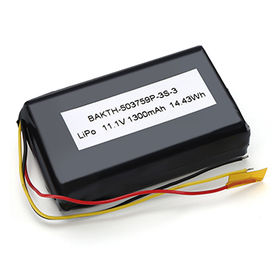 China Lithium-ion polymer battery pack, 503759P 3S1P 11.1V 1350mAh, with protection circuit and 10K NTC