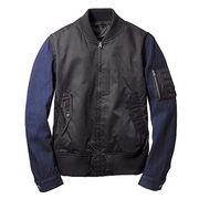 Denim stitching baseball uniform jacket from China (mainland)