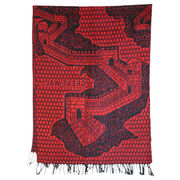 Maroon Jacquard Pashmina Shawls from China (mainland)