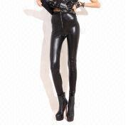 a911d7d7bea13 China Patent leather high waist zipper backing pants zipper leggings