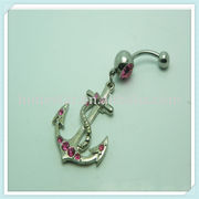 Wholesale Exotic anchor&red gems belly button bar dangle cz, Exotic anchor&red gems belly button bar dangle cz Wholesalers