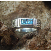 Wholesale Motif silver ring blue topaz stone carving bali, Motif silver ring blue topaz stone carving bali Wholesalers