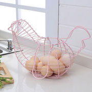 Wire Style Egg Collection Basket with Handles, Chicken Shape, Various Sizes and Colors