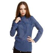 Long-sleeved semi-cardigan blouse from China (mainland)