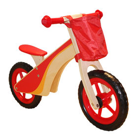 Colorful wooden bicycle toy with bag for children, unit sized 85*37*55cm, model no.W16C086