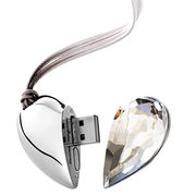Jewelry Heart Style Crystal USB Flash Drives with 1 to 32GB Memory, Free Logo from Shenzhen Sinway Technology Co. Ltd