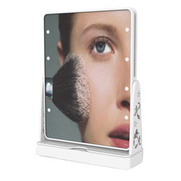 Solar Powered LED Lighted Makeup Mirror in double sides, 360 Degrees Rotatable