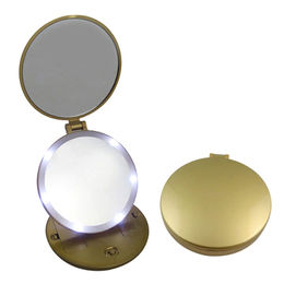 High quality fold-able makeup mirror for travel in golden color, 5x magnification