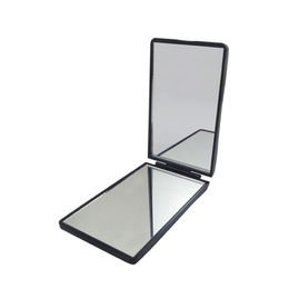 China Two sides square pocket makeup mirror with 2x Magnifying, Unique design with waved cover