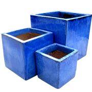 Glazed Terrazzo Cube Planter Set/3 from Vietnam